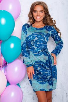 Платье с поясом и рукавом Open-Style