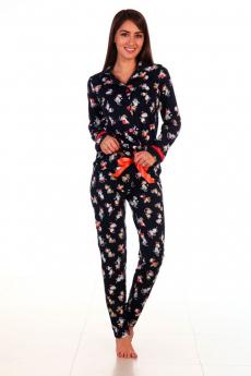 Черная пижама на пуговицах Новое кимоно