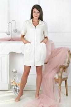 Молочный махровый халат Милана