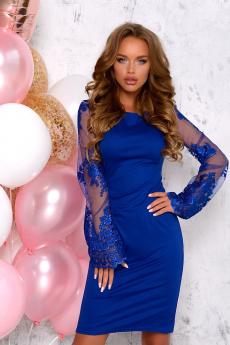 Синее платье с кружевными рукавами Open Style