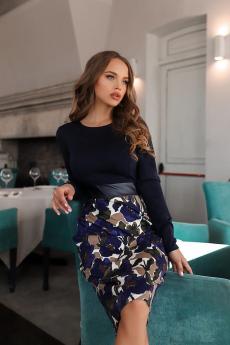 Темно-синее платье с кожаной вставкой Open Style