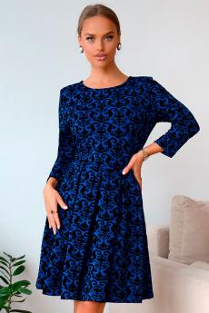 Синее жаккардовое платье Open Style